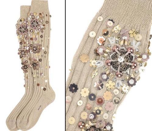 Носки с вышивкой бисером 38