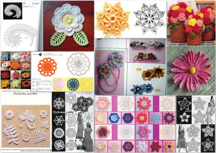 Cкачать схемы вязаных цветов.  Значительная подборка схем для вязания цветов и цветочных мотивов крючком из разных...