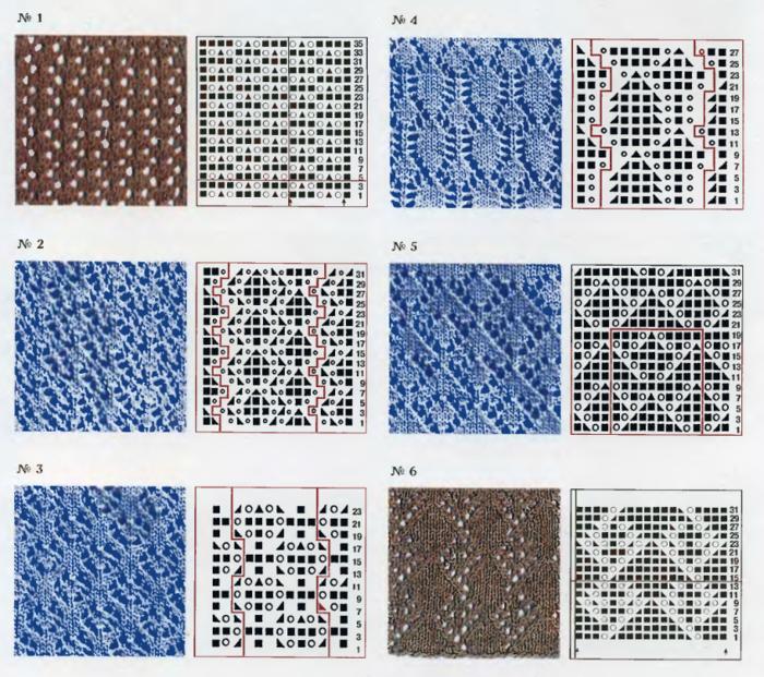 Каталог ажурных узоров спицами - АЖУР схемы узоров 73