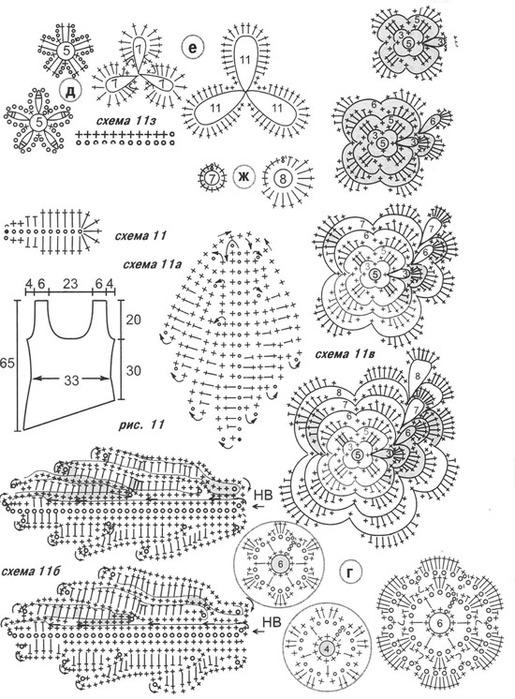 Условные обозначения для схем узоров вязания спицами 30