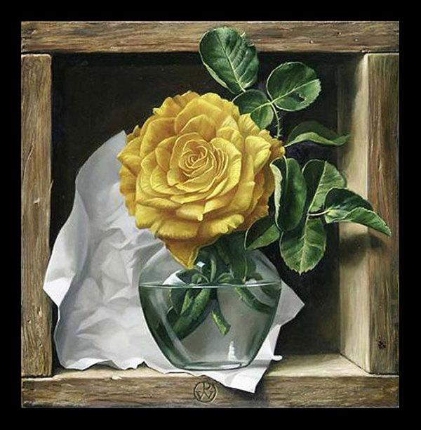 """Схема вышивки  """"Желтая роза """" ."""