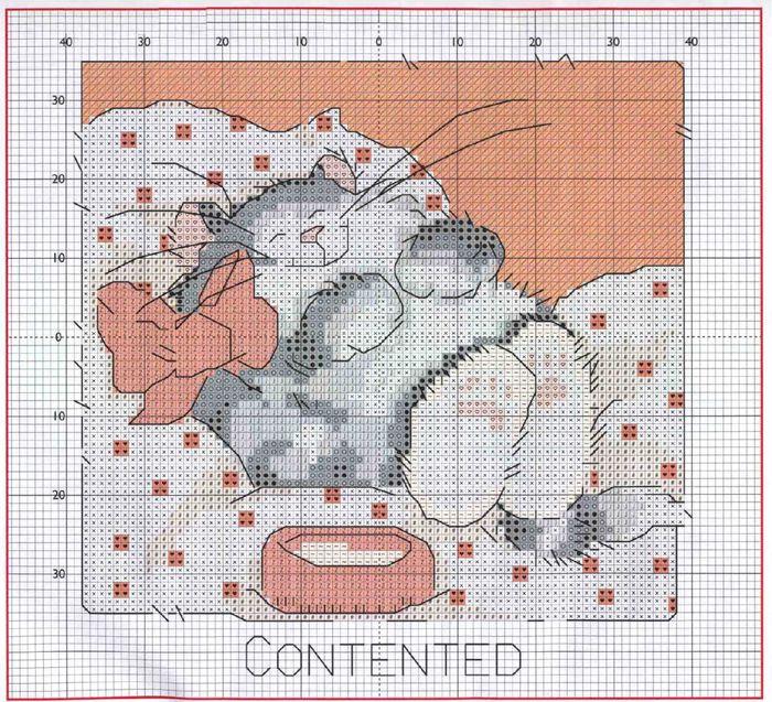 Несколько схемок для вышивки забавных котиков.  Эти схемы я нашла.  И там еще много подобных забавных и милых...