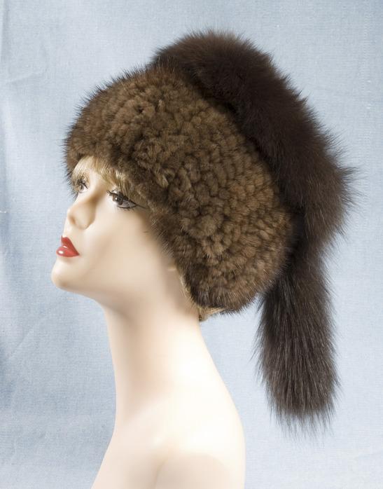 Вязаная шапка из меха норки своими руками