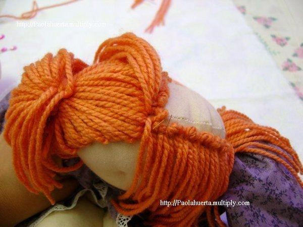 Как из ниток сделать волосы для куклы 822