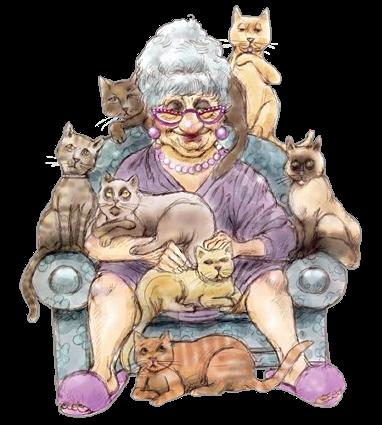 бабуся с кошками (382x425, 249Kb)