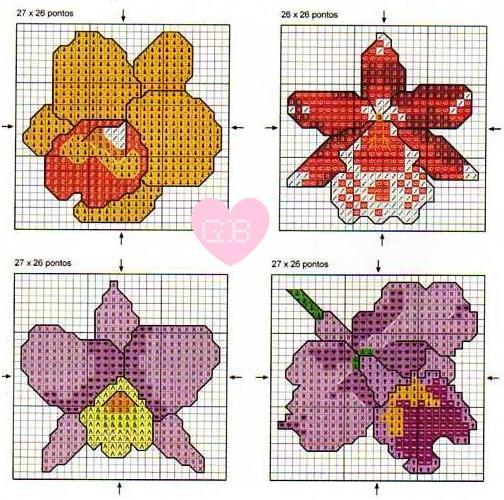 Ponto Cruz Orquídeas  GpB102 (504x500, 72Kb)