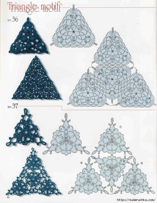 Треугольные схемы вязания крючком 70