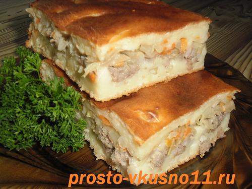 заливной пирог с капустой и фаршем на кефире