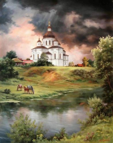 Абат-Черкасов Владимир Владимирович Великие Сорочинцы. Прелбраженская Церковь (393x499, 149Kb)