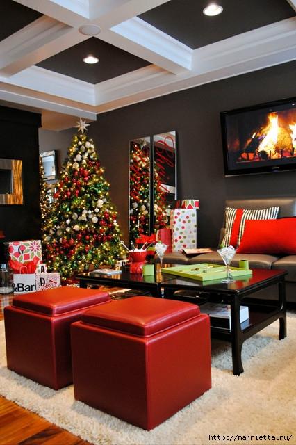 Самые красивые рождественские идеи. Елки в интерьере (15) (426x640, 218Kb)