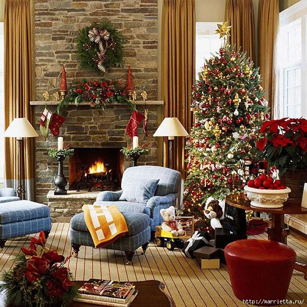 Самые красивые рождественские идеи. Елки в интерьере (40) (600x600, 363Kb)