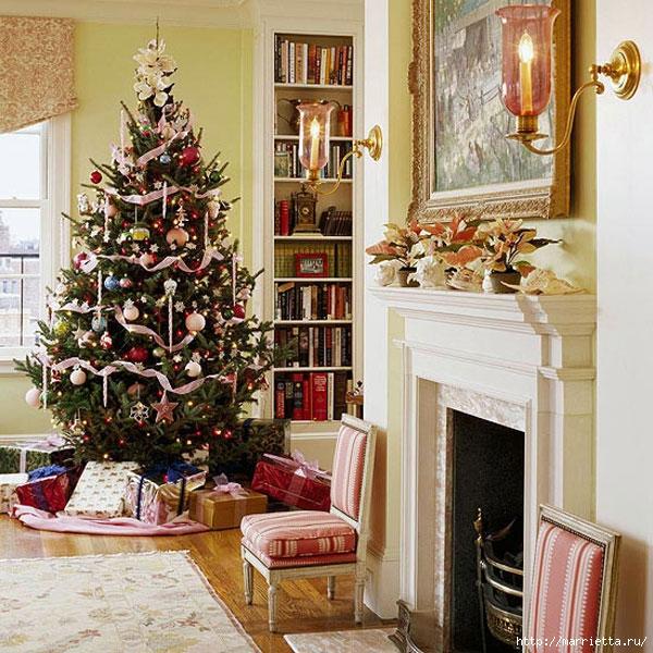 Самые красивые рождественские идеи. Елки в интерьере (42) (600x600, 303Kb)
