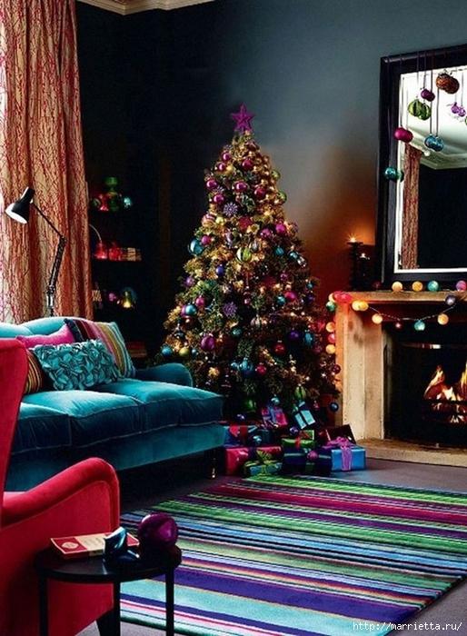 Самые красивые рождественские идеи. Елки в интерьере (56) (514x700, 319Kb)