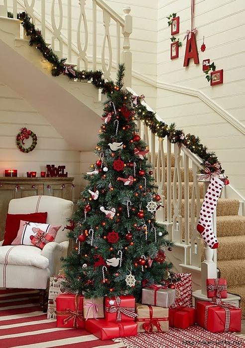 Самые красивые рождественские идеи. Елки в интерьере (58) (492x700, 331Kb)