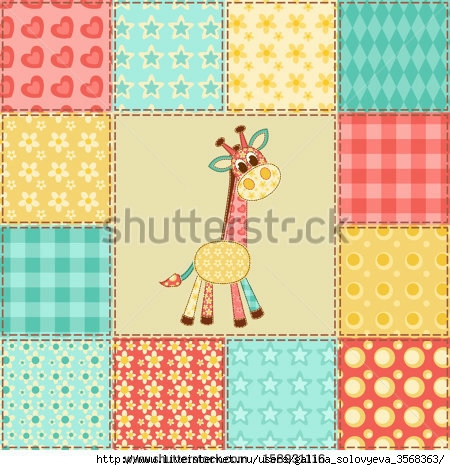 stock-vector-giraffe-vintage-patchwork-pattern-vector-background-158931116 (450x470, 176Kb)
