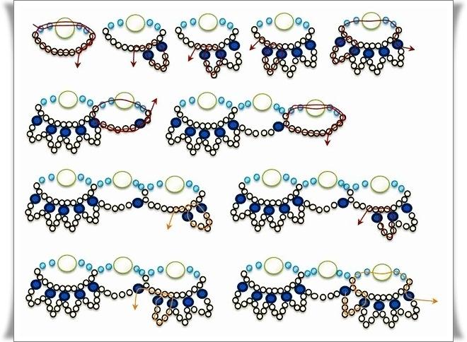 схема плетения колье из бисера. используя бусины и бисер, различные по цвету и диаметру, можно сплести оригинальное...