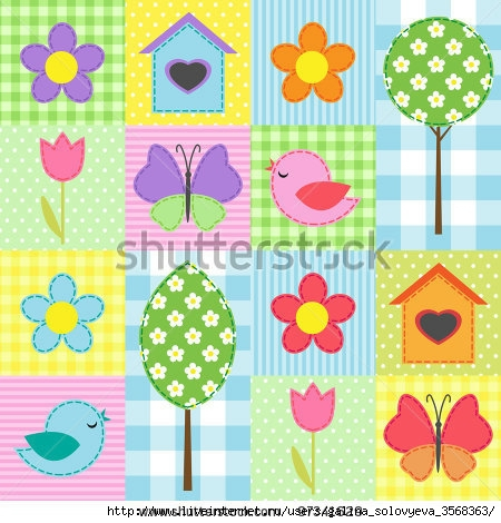 stock-vector-spring-background-with-flowers-trees-birdhouses-and-butterflies-97341629 (450x470, 160Kb)