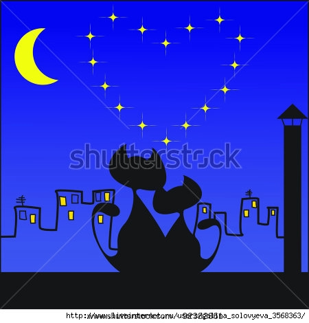 stock-vector-two-cats-under-the-moon-92382361 (450x470, 86Kb)