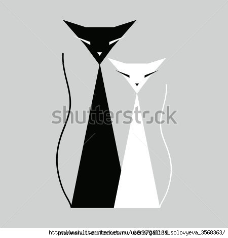stock-vector-white-and-black-cats-103790039 (450x470, 36Kb)
