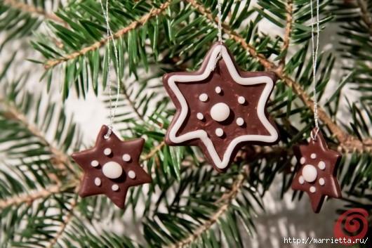 Рождественские звезды из полимерной глины (10) (530x353, 150Kb)