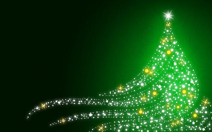 Christmas_wallpapers_Shimmering_Christmas_tree_on_Christmas__green_background_052979_ (700x437, 90Kb)