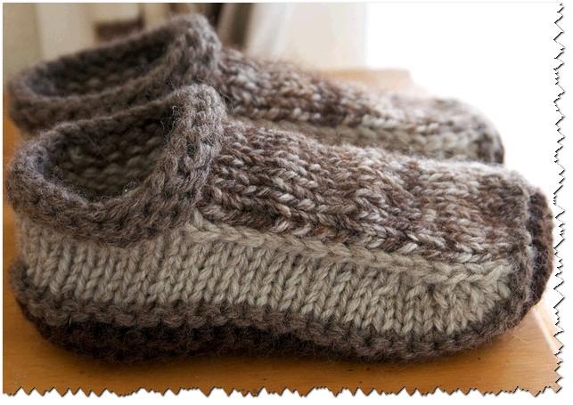 Планета Вязания | Носки-тапочки ленивым жаккардом