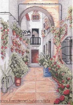 Вышивка крестом схемы дворик