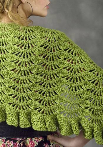 Зеленая шаль крючком ажурным