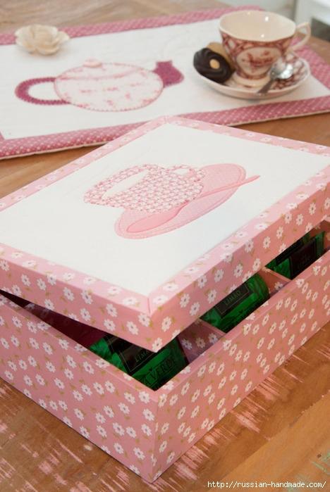Коробочка для чайных пакетиков. Пэчворк без иголки (2) (468x699, 212Kb)