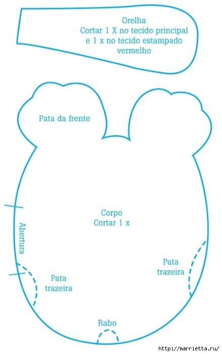 Шьем забавную собачку - подушку. Мастер-класс и выкройка (4) (439x700, 102Kb)