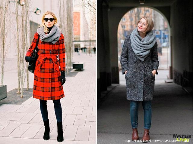 Пальто с шарфом женское