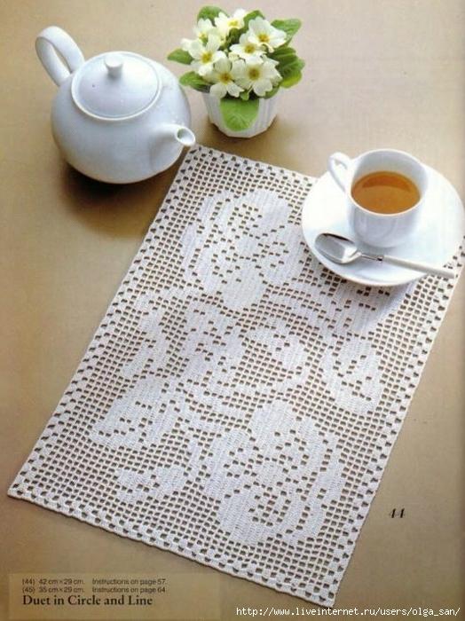 Салфетки филейное вязание.