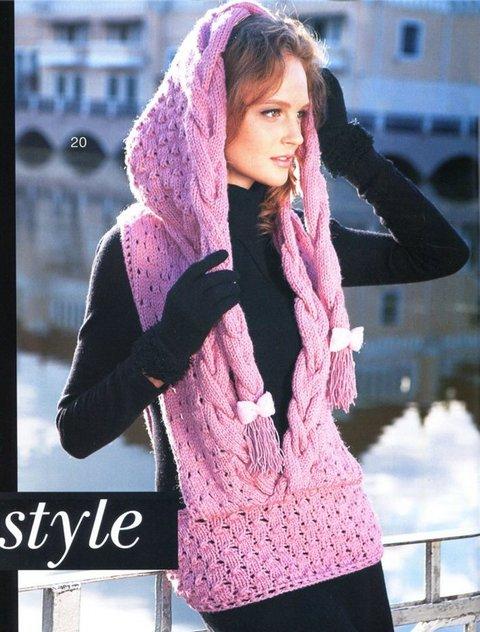 Розовый вязаный жилет с