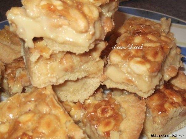 пирог с орехово-карамельной начинкой