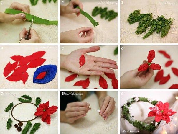 Новогодние цветы своими руками
