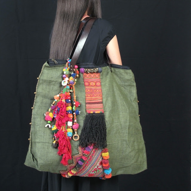 Olive Green Hemp Tribal pom pom Vintage Fabric Hippie Bag 2 (639x640, 205Kb)