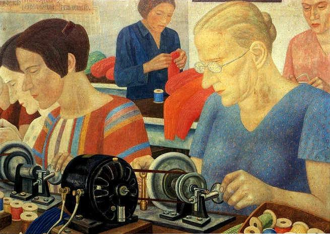 Фил Рабочие рекодсмены на фаб Красная заря 1931 (655x466, 59Kb)