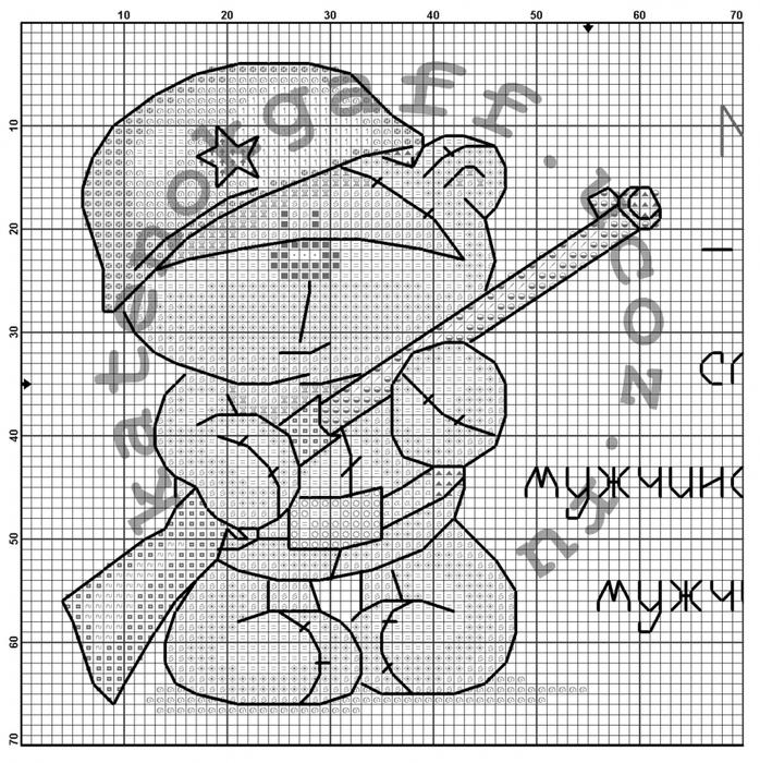 Схема для вышивки крестом мужчина