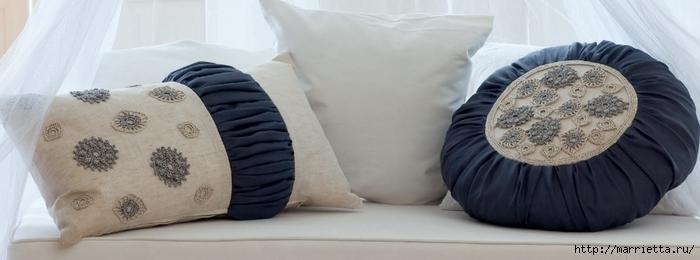 Шьем подушки с вязаными фрагментами крючком. Схема (1) (700x260, 116Kb)
