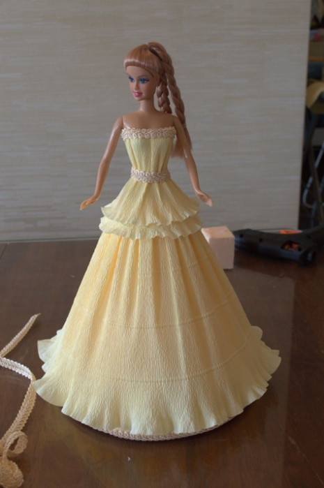 Как сделать барби платье из бумаги