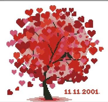 Вышивка деревья с сердечками