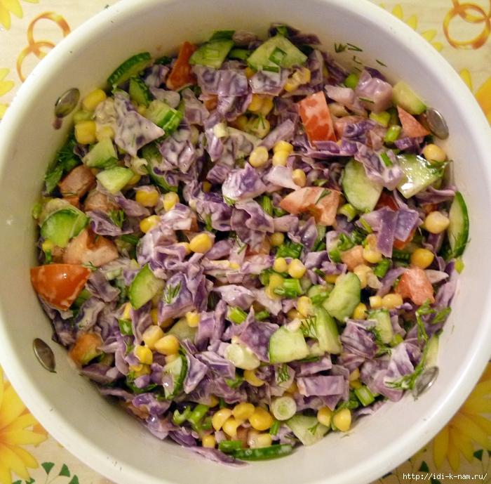 фото рецепт салата из красной капусты с кукурузой как приготовить салат из