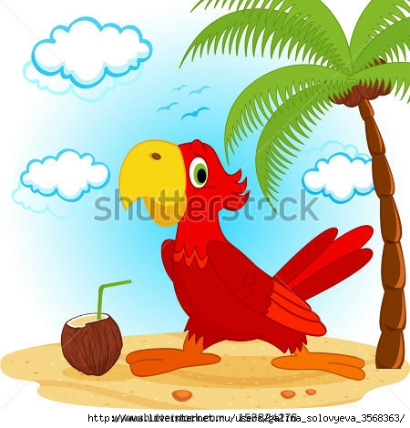 stock-vector-parrot-on-beach-vector-illustration-153824276 (450x470, 138Kb)
