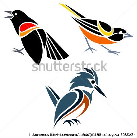 stock-vector-stylized-birds-red-winged-blackbird-baltimore-oriole-and-belted-kingfisher-134409158 (450x454, 76Kb)