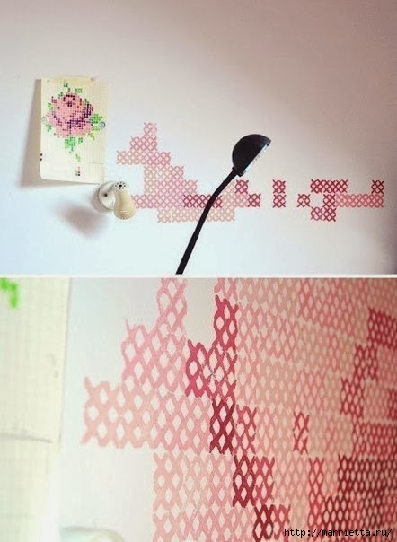 Розочки на стене. Настенная вышивка (5) (442x604, 127Kb)