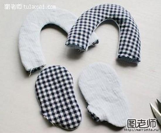 Тапочки с мишками для малыша. Шьем сами (5) (550x455, 117Kb)