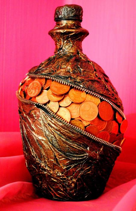 Декупаж бутылки с деньгами мастер класс