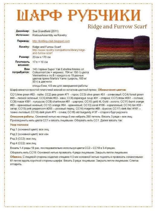 Шарф вязание спицами нитками двух цветов