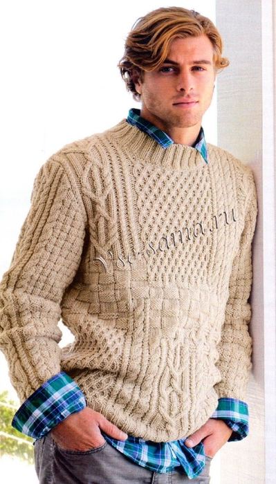 Bezhevyi-muzhsqoi-pulover-ris (399x700, 235Kb)