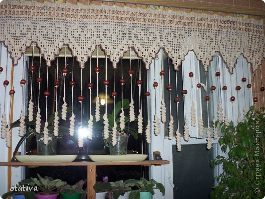 вязаные шторы для кухни фото